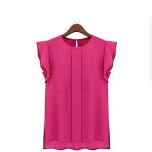 New fashion Chiffon sleeveless blouse hot pink